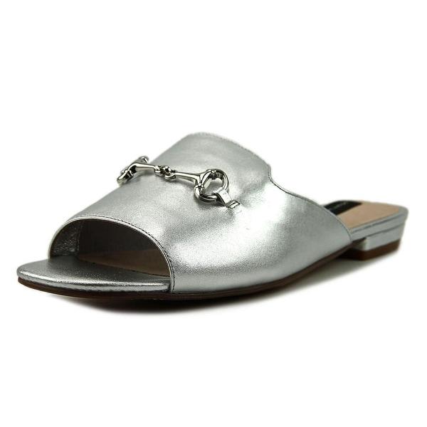 Steven Steve Madden Fela Women Open Toe Leather Silver Slides Sandal