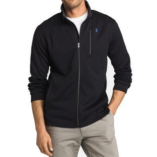 IZOD NEW Deep Black Mens Size XL Solid Full-Zipped Seamed Jacket