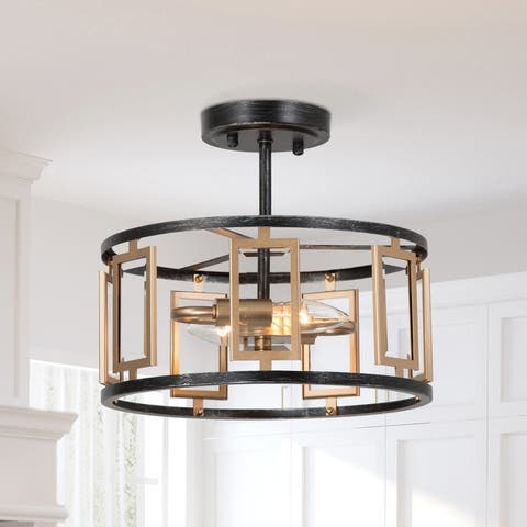 Modern Gold Brushed 2-light Drum Semi Flush Mount Light Glass Shade for Dining Room