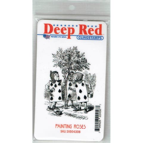 Deep Red Stamps Painting Roses Rubber Cling Stamp - 2.1 x 3