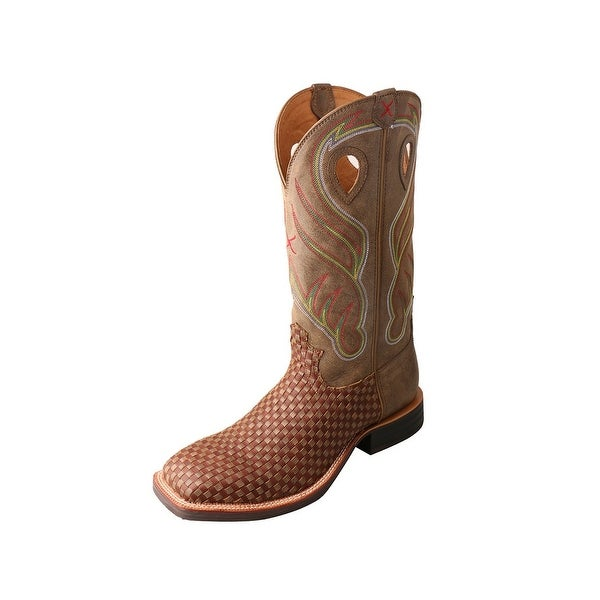 Twisted X Western Boots Mens Ruff Stock Basketweave Brown