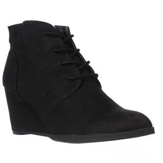 AR35 Baylie Lace Up Wedge Booties, Black