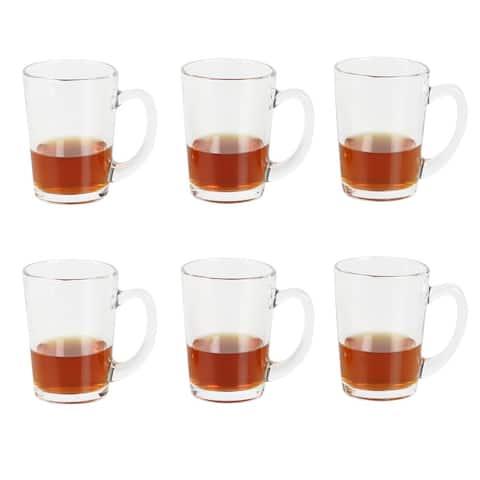 Home Basics Collins 10 oz Clear Glass Mug Set, (Set of 6)