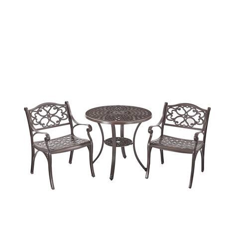 Upland Elizabeth Cast Aluminum Garden Furniture Chairs 3 Pcs Set