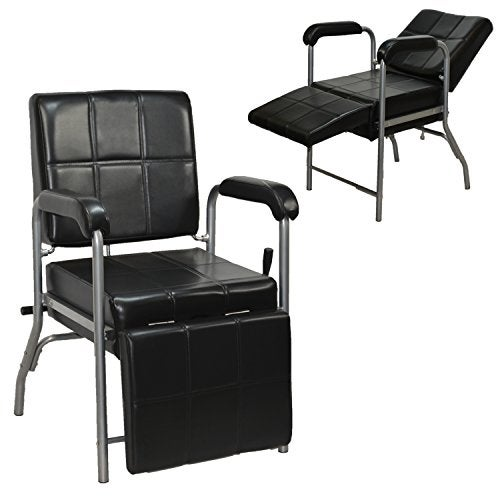 LCL Beauty Black Deluxe Reclining Shampoo Chair with Leg Rest