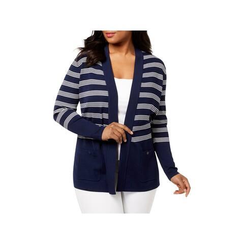 Anne Klein Womens Cardigan Sweater Striped Long Sleeves - XL