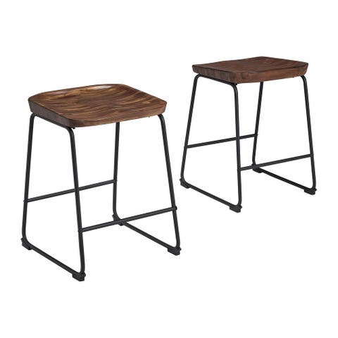 Showdell Contemporary Barstool Set of 2, Brown/Black