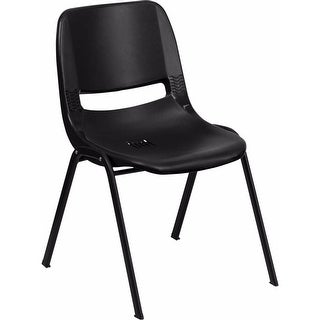 Offex HERCULES Series 880 lb. Capacity Black Ergonomic Shell Stack Chair [OF-RUT-EO1-BK-GG]
