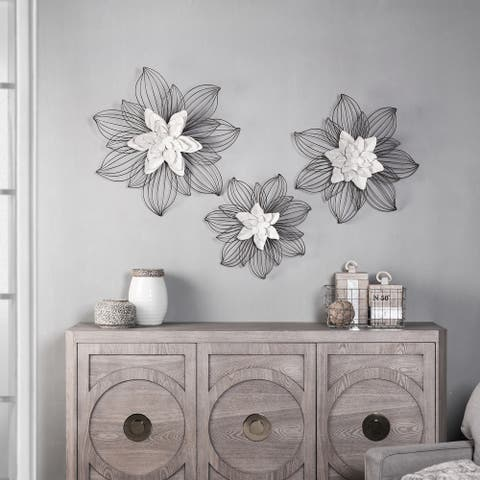 The Gray Barn Flower Blooms Metal Wall Sculpture with Open Wire Petals (Set of 3)