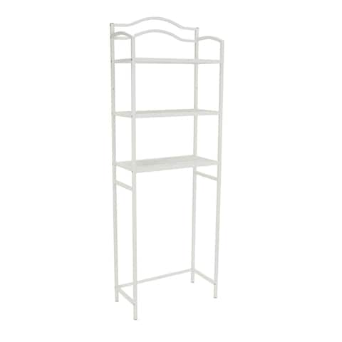 Household Essentials Freestanding Over-the-Toilet 3-Shelf Metal Rack, White