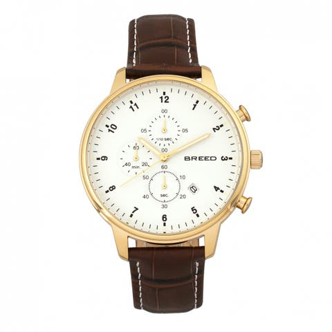 Breed Holden Men's Quartz Chronograph Watch, Genuine Leather Band, Luminous Hands