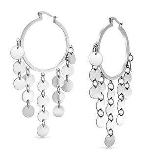 Bling Jewelry Bohemian Disc Cascade Dangle Chandelier Hoop Earrings Steel