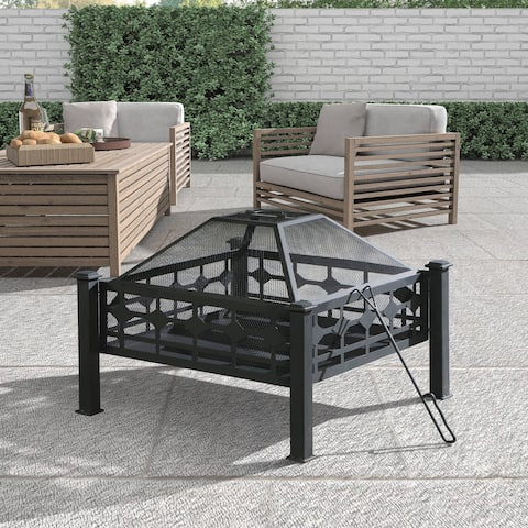 """28.7"""" Square Steel Wood Burning Fire Pit"""