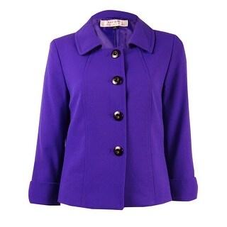 Tahari ASL Women's 4-Button Cuffed Sleeve Jacket - Purple - 2