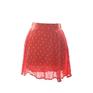 Maison Jules Orange Heart-Print Mini Skirt M