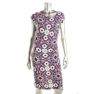 French Connection Womens Printed Midi Wear to Work Dress - 10