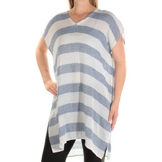 Womens Blue Striped Short Sleeve V Neck Top Size ONE SIZE