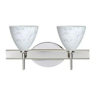 Besa Lighting 2SW-177919 Mia 2 Light Reversible Halogen Bathroom Vanity Light with Carrera Glass Shades