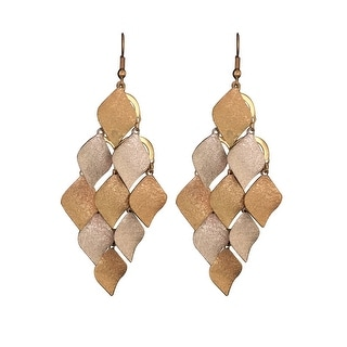 max & MO Gold/Silver Chandelier Leaf Earrings - gold and silver