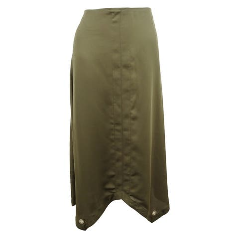 DKNY Women's Grommet-Trim Maxi Skirt (8, Military Green) - Military Green - 8