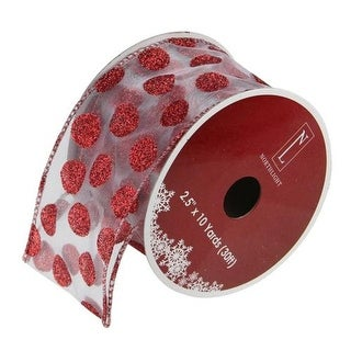"Silver and Red Glittering Polka Dots Wired Christmas Craft Ribbon 2.5"" x 10 Yards"