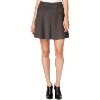 Kensie Womens A-Line Skirt Knit Herringbone