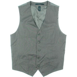 Perry Ellis Mens Herringbone V-Neck Suit Vest