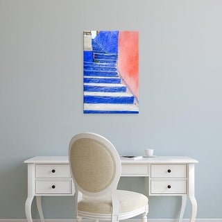 Easy Art Prints Julie Eggers's 'Bright Blue Stairs Leading To Restaurant' Premium Canvas Art