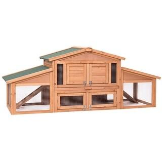 Gymax 71'' Large Chicken Coop Outdoor Garden Backyard Large Wood Hen House Rabbit Hutch
