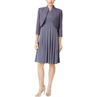 Jessica Howard Womens Petites Dress With Cardigan 2PC Glitter