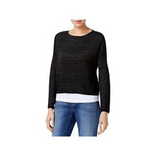 Eileen Fisher Womens Petites Pullover Sweater Silk/Linen Blend Long Sleeves