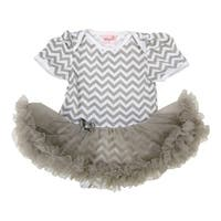 Wenchoice Baby Girls Gray Chevron Tutu Short Sleeve Bodysuit