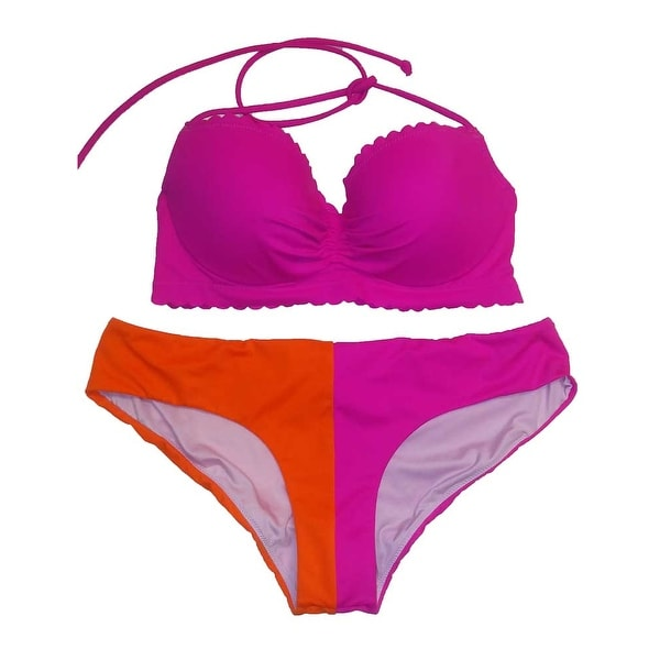 Victoria's Secret 2PC Swimsuit Bikini Set Pink/Orange Halter Cheeky