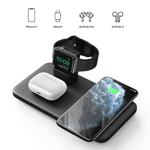 3 in 1 Wireless Charger Apple Watch and AirPods Charging Station iWatch & EarPod Charging Dock Fast Charging - Black