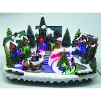 "10"" LED Lighted Hand-Painted Wintry Christmas Village Scene Table Top Decoration - multi"