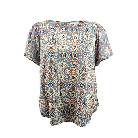 Lucky Brand Women's Trendy Plus Size Printed Top - Blue Multi