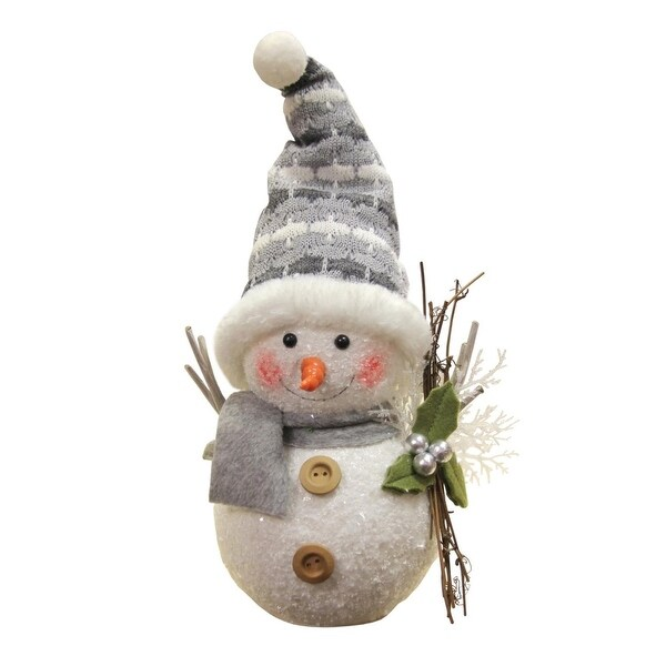 "10"" Alpine Chic Gray and White Snowman with Twigs and Mistletoe Christmas Decoration"