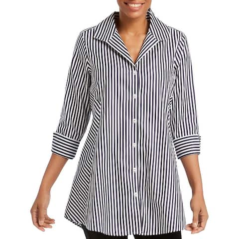 Foxcroft NYC Womens Cecila Button-Down Top Striped Tunic
