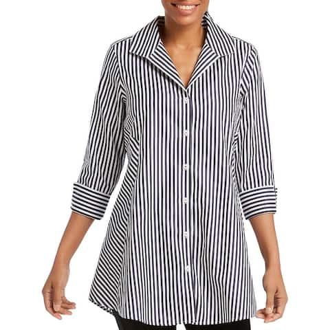 Foxcroft NYC Womens Cecila Button-Down Top Striped Tunic
