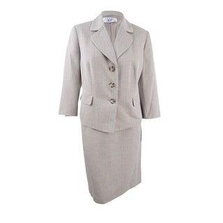Le Suit Women's Plus Size Herringbone Three-Button Skirt Suit - khaki multi