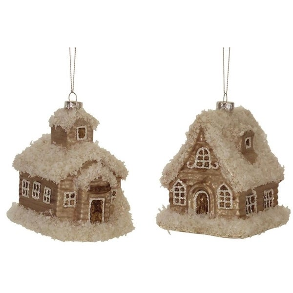 "Pack of 8 Christmas Indoor Outdoor Decorative Brown Creative House Ornaments 3.75""H"
