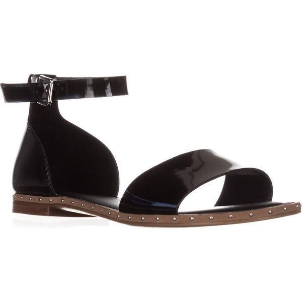 Franco Sarto Venice Ankle Strap Flat Sandals, Black Metallic