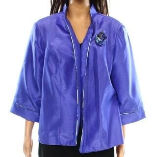 Le Bob NEW Purple Women's Size 18W Plus Open-Front Seamed Jacket