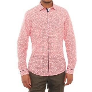 Stone Rose Long Sleeve Printed Gingham Men Regular Dress Button