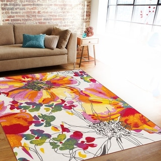 Link to Modern Bright Flowers Non-Slip Area Rug Multi Similar Items in Rugs