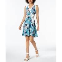 Tommy Hilfiger Blue Women's Size 12 Floral Print Wrap Dress