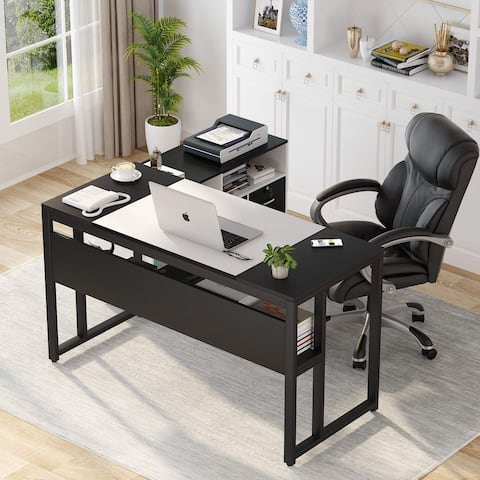 L Shaped Computer Desk, 55 inches Executive Office Desk with 39 inches File Cabinet Storage