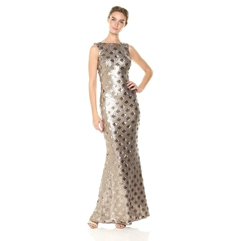 Dress the Population Women's Yvette Sleeveless Sequin Long, Brass, Size Medium