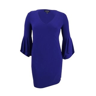 Lauren by Ralph Lauren Women's Flounce Sleeve Jersey Dress - dame purple