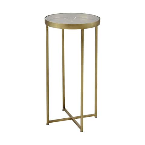 Round Accent Table in Gold finish with Cross Legs - Material Glass Metal Gold Finish